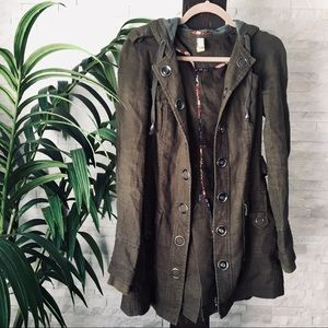 FREE PEOPLE Moss Green Long Snap Military Jacket